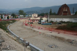 Travaux du tram, 2013 - Le long de la Route de Belfort